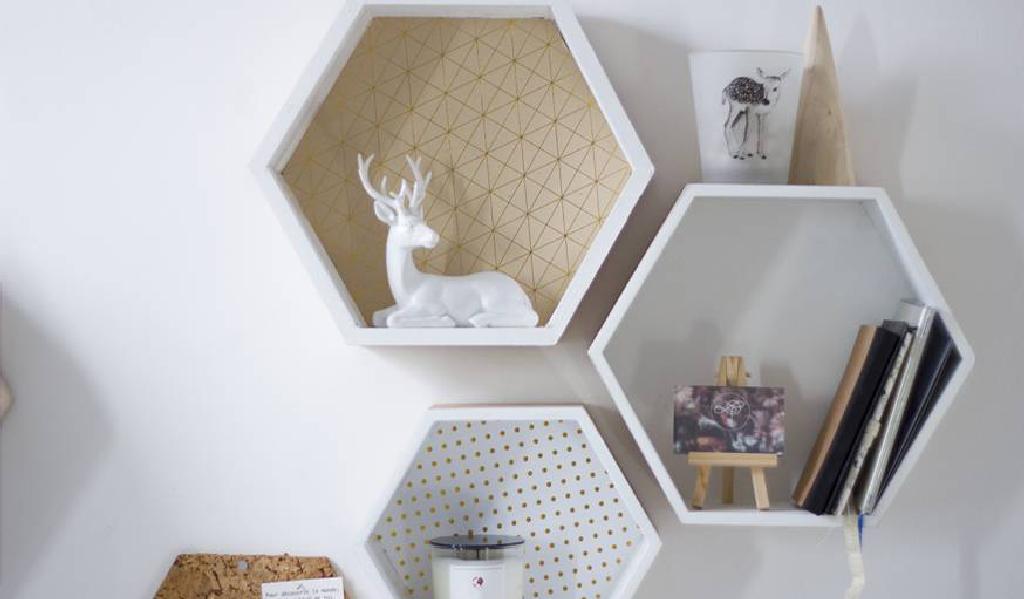 Etagères hexagones à personnaliser DIY