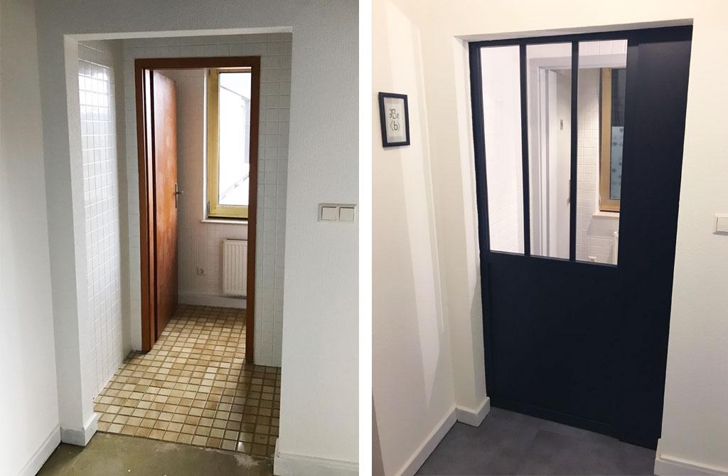 Porte verrière atelier - Aménagement d'une meeting room avant/après