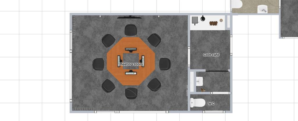 Plan d'aménagement d'une meeting room avant/après