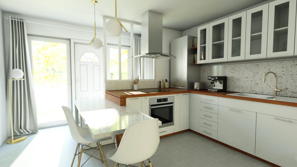 Aménagement d'une cuisine entrée 2 en 1 style rétro-chic avec verrière et terrazzo !